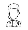 sketch woman cartoon profile girl avatar vector image
