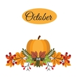 October banner with pumpkin autumn leaves and vector image