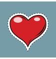 Red heart Valentine pop art retro label sticker vector image