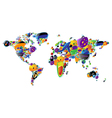 World map of colorful icons vector image vector image