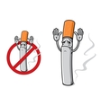 Sad cigarette in cartoon style vector image vector image