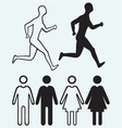Man and woman icon Running man vector image vector image