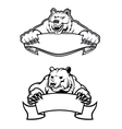 Angry bears mascots with banners vector image vector image