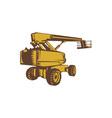 Cherry Picker Mobile Lift Platform Woodcut vector image