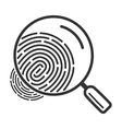Magnifying glass icon over fingerprint vector image