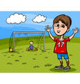 boy playing soccer cartoon vector image