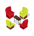 Chair and Table Isometric Design vector image