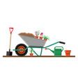 formal garden with wheelbarrow flowers shovel vector image
