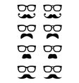Geek glasses and moustache or mustache icon vector image