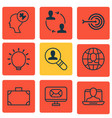 set of 9 business management icons includes arrow vector image