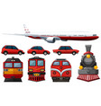 different types of vehicles in red color vector image