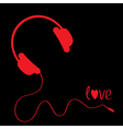 Red headphones with cord Black background Love vector image vector image