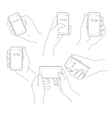 Hand with phone set vector image vector image
