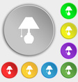 table lamp icon sign Symbol on eight flat buttons vector image