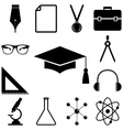 Science education signs set Flat style vector image