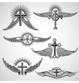 Vintage cross and wings tattoo elements vector image