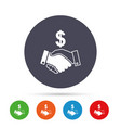 dollar handshake sign icon successful business vector image