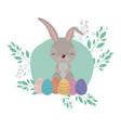 easter background with rabbit and easter eggs in vector image
