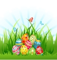 Eggs on grass vector image