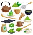 japanese tea ceremony icons set vector image