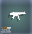machine gun icon symbol on the blue-green abstract vector image