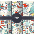 Set of seamless christmas patterns hand drawn in vector image