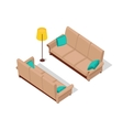 Sofa and Lamp Isometric Design vector image
