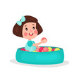 sweet brunette little girl playing in pool with vector image