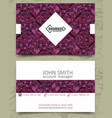 violet triangles modern business card design vector image