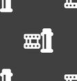 film Icon sign Seamless pattern on a gray vector image