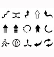 black arrow icons set vector image vector image