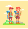 2 young hikers guy and girl with large backpacks vector image