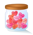 jar with red hearts and I Love You text in many vector image