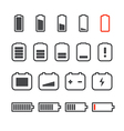 Different accumulator status icons Minimalism conc vector image