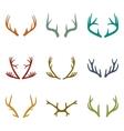 set of vintage deer antlers vector image