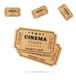 cinema ticket movie entertainment set vector image