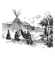 scene on an indian reservation vintage vector image