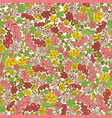 seamless pattern flower and leaf green pink yellow vector image