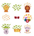 set of flat style bingo and casino icons symbols vector image