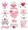 Valentines day calligraphy setFramearrowshearts vector image