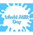 World Milk Day Concept for banners labels logos vector image