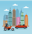 woman scooter and man car city background vector image