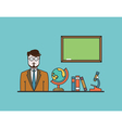 Teacher with school objects Flat design style vector image vector image
