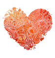 Hand-drawn red doodles heart isolated on white vector image