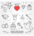 thin line icons set for Saint Valentines day and l vector image