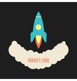 Rocket launch logo isolated on black background vector image