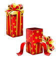 two red gift boxes open and closed isolated vector image