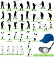 40 Detailed Golf silhouettes set vector image