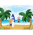 Kids enjoying summer at the beach vector image
