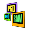 psd jpg raw file icon cartoon vector image